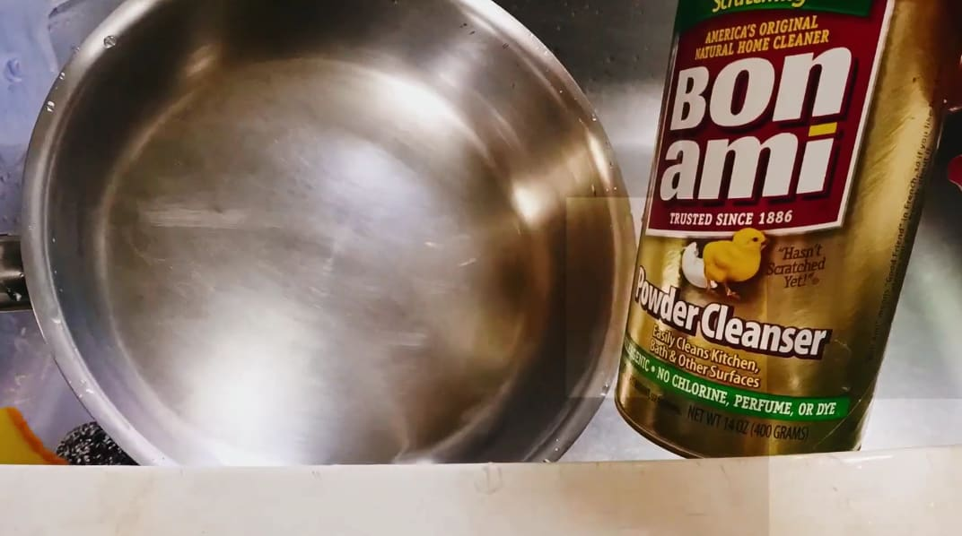 how to clean burnt grease from bottom of frying pans