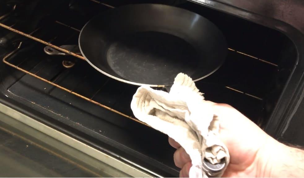 season carbon steel pan