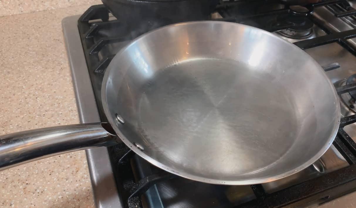 seasoning a stainless steel pan