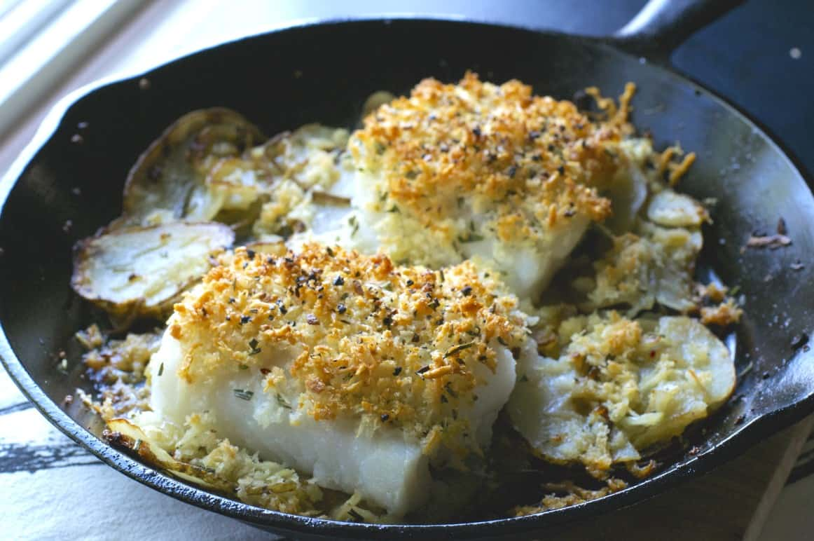 Cast Iron Cod with Potatoes and Onions