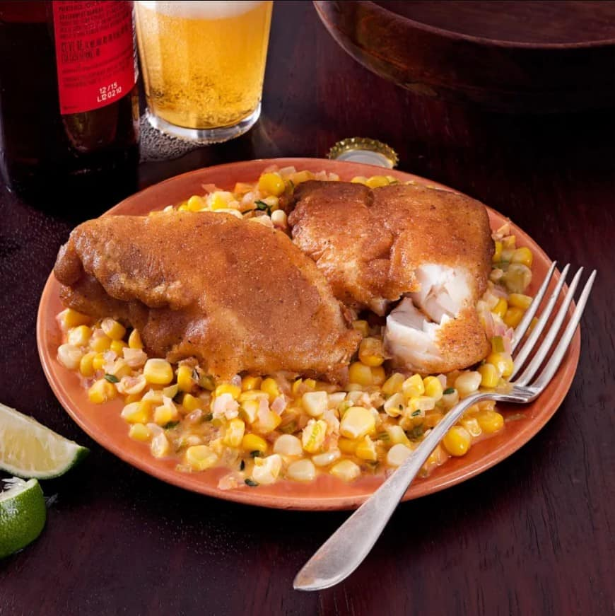 Old Bay-Battered Fish with Creamed Corn