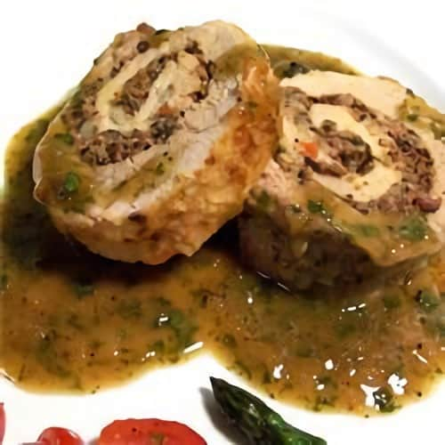 Pan-Roasted Pork Loin with Blue Cheese and Olive Stuffing