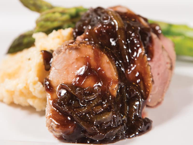 Pan-Roasted Pork Tenderloin with Melted Onions and Balsamic Glaze