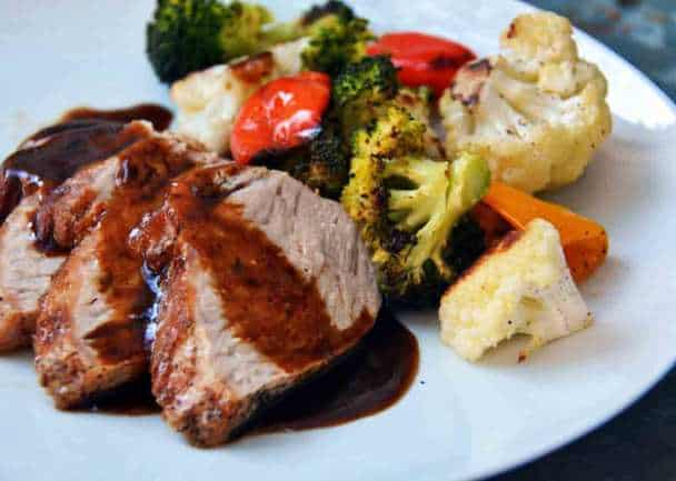 Pork Tenderloin and Pan Sauce with Roasted Cauliflower and Broccoli