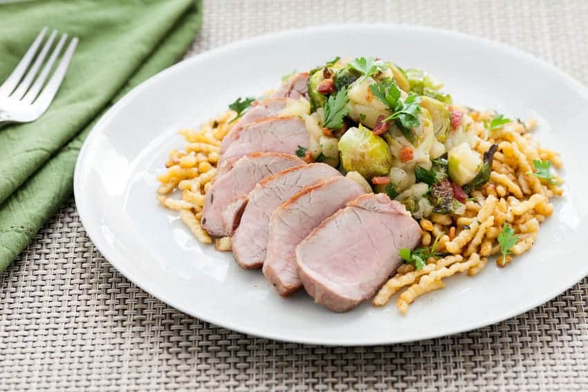 Pork Tenderloin with Brown Butter, Spaetzle, and Brussels Sprouts