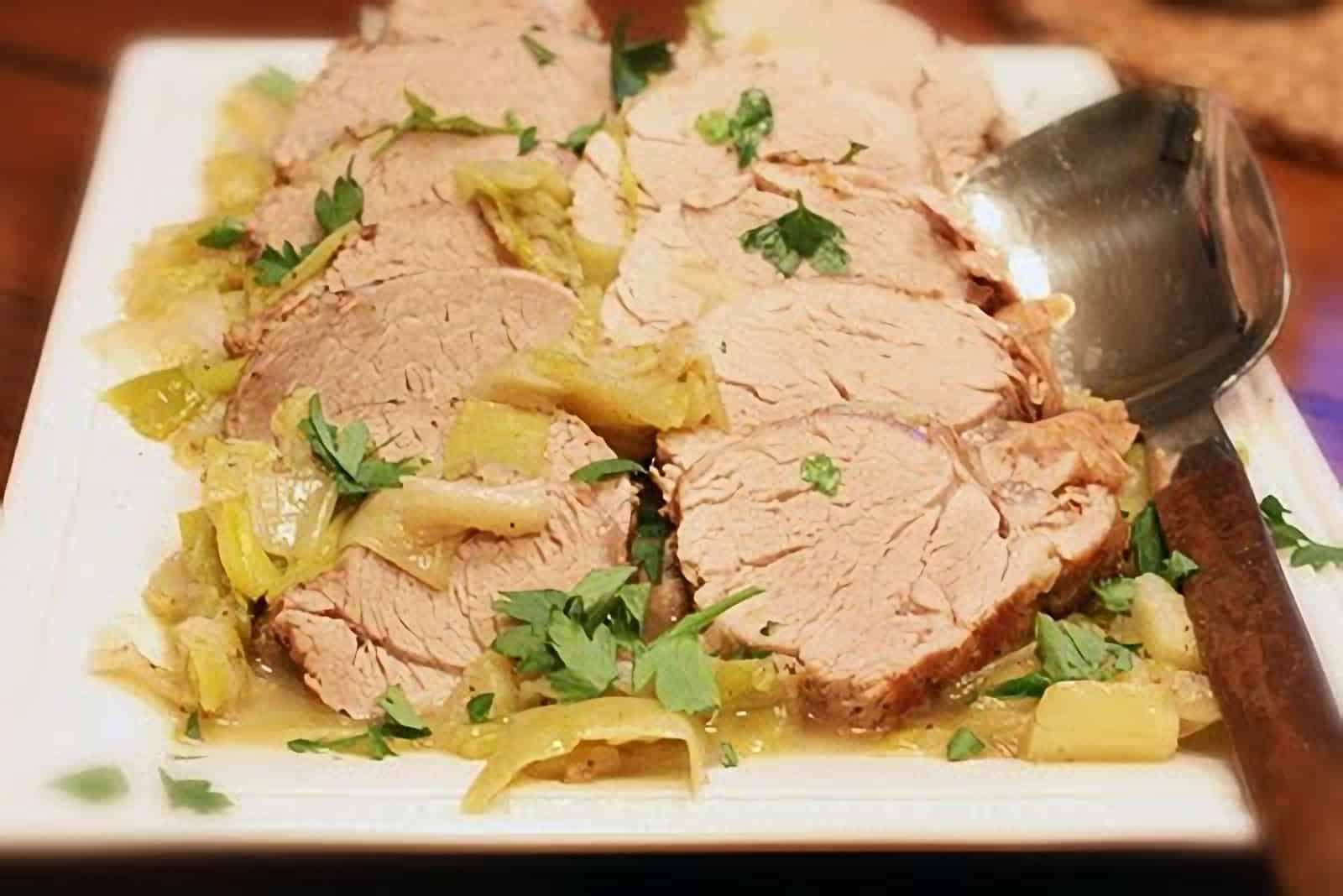Pork Tenderloin with Leeks and Tarragon