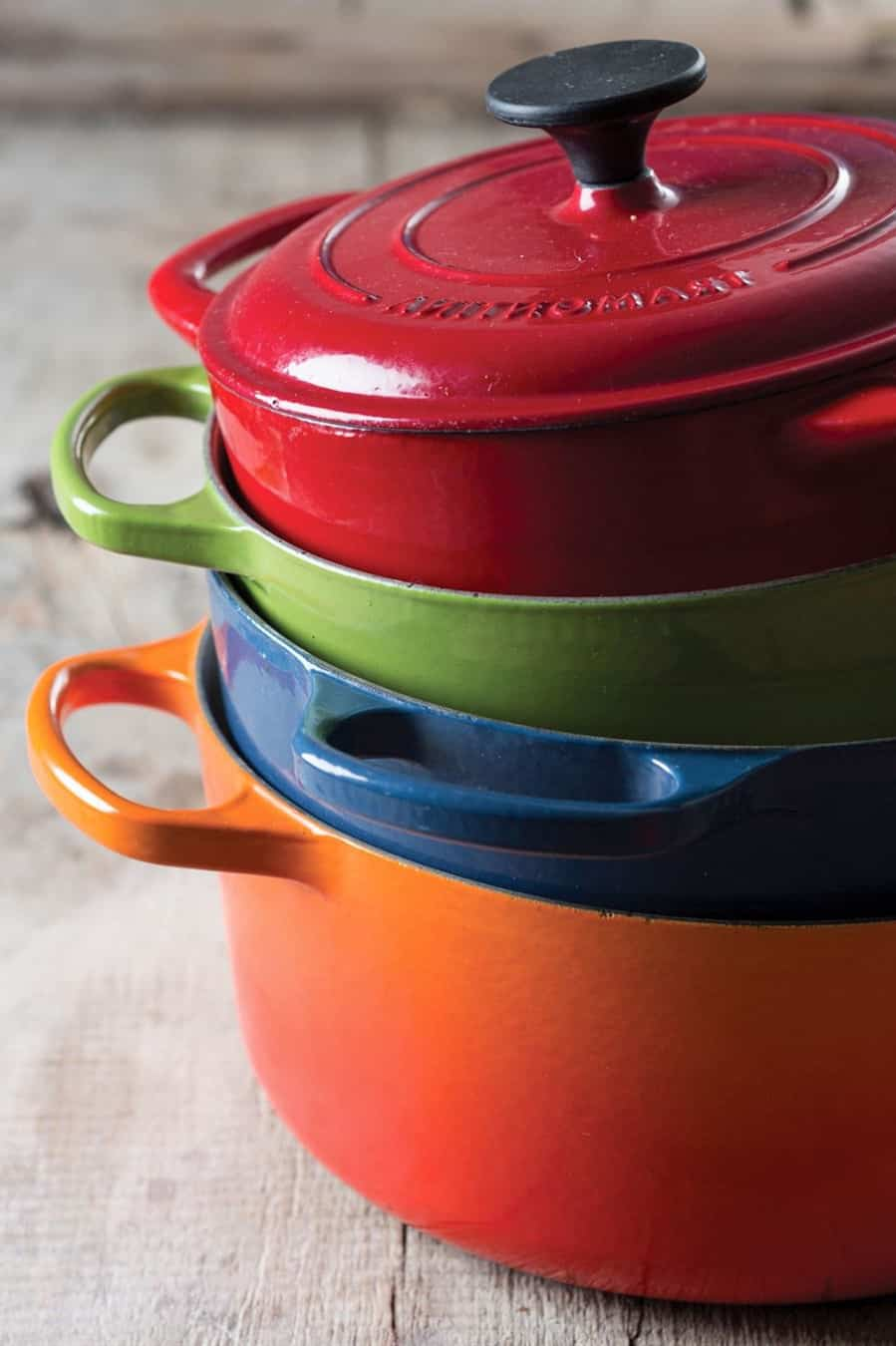how to clean enameled cast iron pot