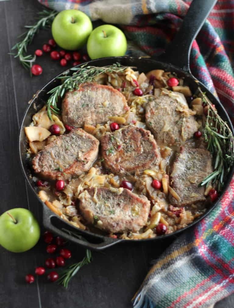 30-Minute Apple Cranberry Skillet Pork Chops