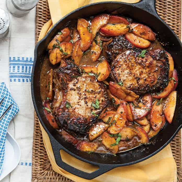 Bourbon Pork Chops with Peaches on the Side