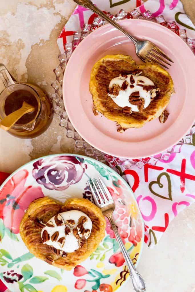 Heart-Shaped Apple & Butterscotch Stuffed French Toast