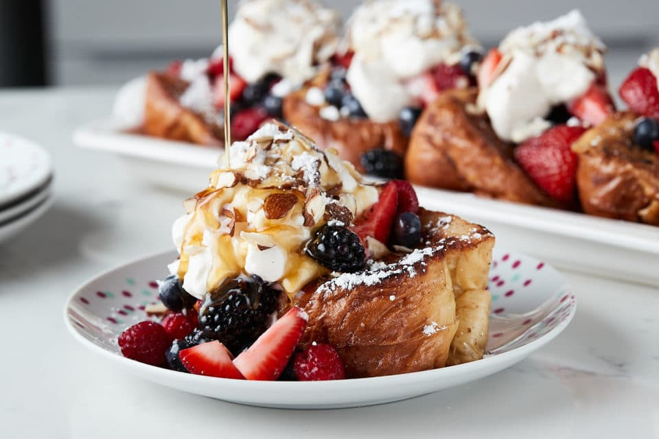 Lemon Curd French Toast with Berries & Mascarpone Whipped Cream