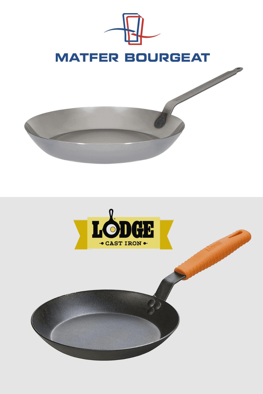 Matfer Carbon Steel Pan and Lodge Carbon Steel Skillet