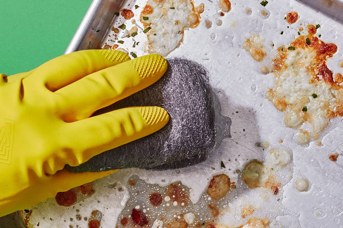 how to Clean Baking Sheets Scouring Pad and Sparkling Water